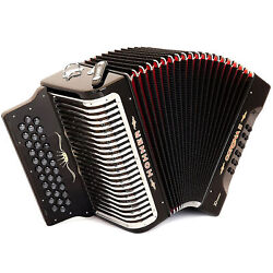 Hohner Button Accordion Corona Ii Xtreme Fbbeb, With Bag And Straps, Jet Black