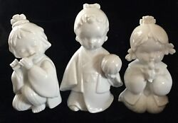 3 Traditional Japanese Girls W/ Ball Bird And Flute White Porcelain Figurines Toyo