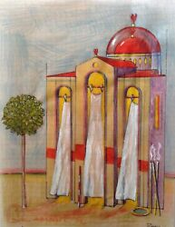 Dimitris C. Milionis Aegean Church With Heart Colored Drawing Paper Greek 2002