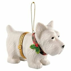 PORCELAIN Hand-Painted SCOTTIE CHRISTMAS ORNAMENT- New in Box