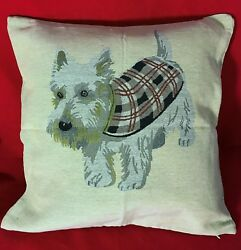 Jacquard woven (tapestry) Cushion  PIllow Cover with Wheaten Scottie Dog- New