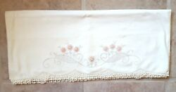 Vintage Pair Of Pillowcases Embroidered And Crocheted Peach Flowers Exquisite