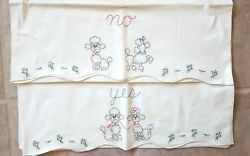 Vintage Pair Of Pillowcases Embroidered Poodles Yes/no Exquisite