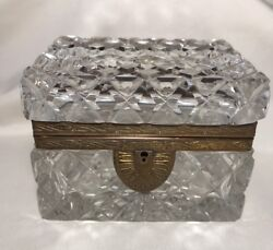 Antique French Cut Crystal Jewelry Box