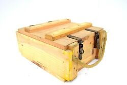 French Army Wooden Storage Box Ammo Tool Wood Chest Rope Handle Vintage Military