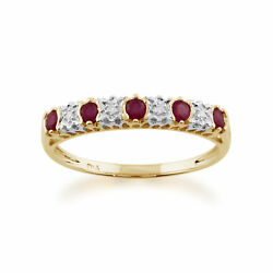 9ct Yellow Gold 0.31ct Natural Ruby And 2pt Diamond Half Eternity Ring