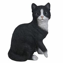 Playful Black and White Cat Kitten Collectible Figurine Hand Painted Resin