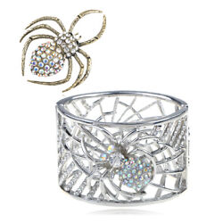 Contemporary Inspired Golden Spider Silver Crystal Pin Brooch + Bangle Bracelet