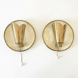 Pair Of Mid Century Modern Wall Lamps Sconces By Jacques Biny Attr. 1950s