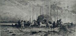Peter Moran Artist Signed 1882 Etching Titled Harvest In San Juan New Mexico