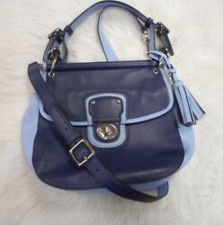 COACH TWO TONE BLUE TOP HANDLE REMOVABLE CROSSBODY STRAP
