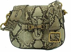 NWT GUCCI 380573 Lady Web Python Horsebit Shoulder Bag with Double Strap