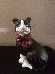 TuxedoBlack and White Resin Cat Figurine with a Red Bow