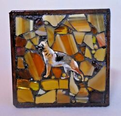 German Shepherd Dog Jewelry Trinket Box Mosaic And Wood Hand Crafted And Painted