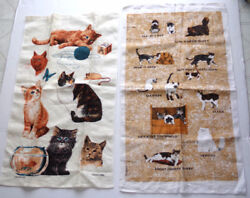 Adorable Set Vintage Linen Towels Kitty Cats Kittens Artist Signed Kay-dee Hand