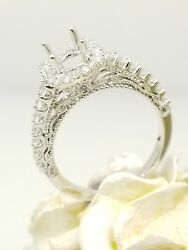 0.56ct 18k White Gold Halo Diamond Engagement Ring Suitable With 1.00 Carat Head