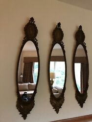 Three Antique Vintage French Wall Mirror Carved Wood Frame With Beveled Mirror