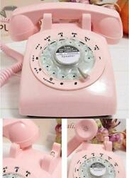 Phone Vintage Pink Retro Rotary Classic Dial Bell Desk Home Telephone Desktop
