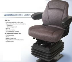 Air Suspension Seat For Case Backhoe Loader Charcoal Gray Cloth