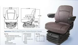 Air Suspension Seat For John Deere 8630 And 4wd W/ Flat Floor - Brown Fabric Cloth