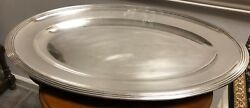 Antique 1862-70 Christofle Engraved French Empire Silver Plate Oval Tray