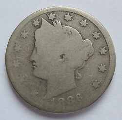 Key Date 1886 U.s. Liberty Head V Nickel About Good Condition