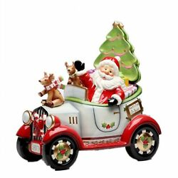 I Believe Santa Driving Cookie Jar W/ Salt And Pepper Shaker And Two Plates