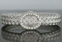 8900 Italy 18k White Gold Pave Round Diamond 11mm Basket Weave 6.75and039and039 Bracelet
