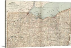 Ohio, Northern Part - Vintage Map Canvas Wall Art Print, Map Home Decor
