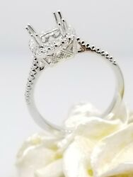 6x6mm Head 18k White Gold With Halo Diamond Studded Semi Mount Ring