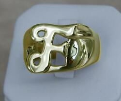 Classy Solid 14k Gold F Letter Name Initial Signet Ring Mens Women A True Beauty