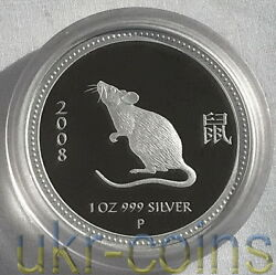 2008 Australia Lunar I Year Of The Mouse 1oz Silver Proof Coin Perth Key Date 1