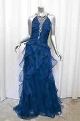 BADGLEY MISCHKA COLLECTION Blue Silk Crystal Ruffle Formal Gown Dress 16 NEW