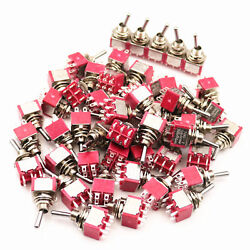 50pcs Sh T8011 6 Pins Dpdt 2position On-on Maintained Mini Toggle Switch