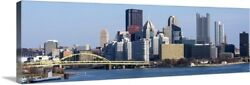 Pittsburgh City Skyline And Fort Pitt Canvas Wall Art Print, Pittsburgh Home