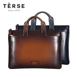 Terse Men's Fashion Genuine Italian Leather Briefcase Patina Design Bag