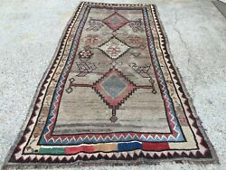 Antique Handmade Natural Dye Persian Wool Rug 244x121cm Country House Chic Luri