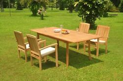 A-grade Teak 5pc Dining 94 Rectangle Table 4 Wave Stacking Arm Chair Set Patio