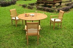 A-grade Teak 4pc Dining 60 Round Table 3 Mas Stacking Arm Chair Set Outdoor
