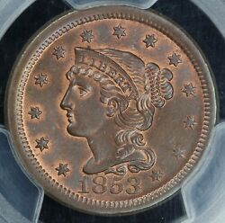 1853 1c Braided Hair Large Cent Pcgs Ms 65 Bn