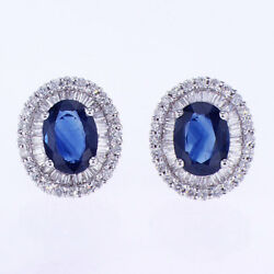 3.26 Ctw Diamond And Sapphire Earrings 18k White Gold 0.50and039and039