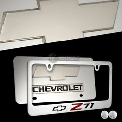 3d Chevrolet Z71 Mirror Stainless Steel License Plate Frame - 2pcs Front And Back