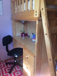 Save Space Twin Bunk Bed-pinewood-2 Bed/5 Drawer Set/desk Included Boys/ Girls