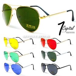 Mens Women Aviator Metal Color Driving Retro Vintage Pilot Police Gun Sunglasses $6.50