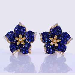 7.60ct Sapphire And Diamond Floral Earrings 18k Yellow Gold