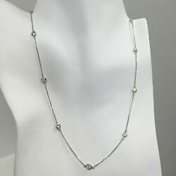 1 Tcw Diamond By The Yard 10 Station Necklace 14k Solid Gold 16 18 36 W Y R