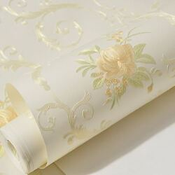 Non Woven Self Adhesive Wallpaper Luxury Embossed Contact Paper Floral Mural