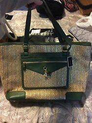 NWT Juicy Couture Braided Straw Green Accent Beach Tote Bag