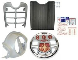 Front Grill, Nose Cone, Chrome Emblem And Decal Set Ford 800 Series Tractor