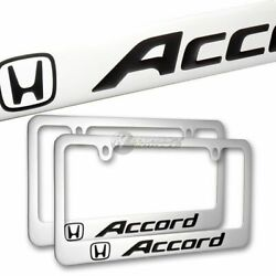 2pc For Honda Accord Plated Brass License Plate Frame Hand Painted Engraved
